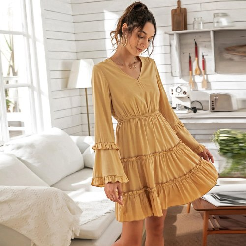 2021 Ruffles Sexy Dress Women Spring Clothes New Long Sleeves V-Neck High Waist Slim Elastic Waist Flared Sleeve Women Dress