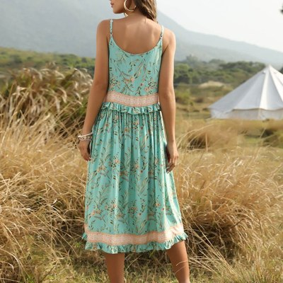 Spring Ladies Cotton Long Sexy Dress Women Sleeveless Summer Dress Floral Print Boho Dress