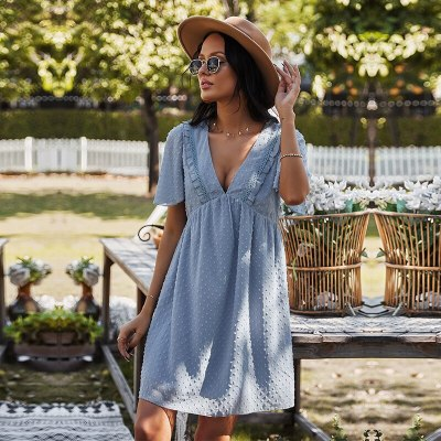 Sexy V Neck Solid Dress Women Casual High Waist Jacquard Short Sleeve Dress