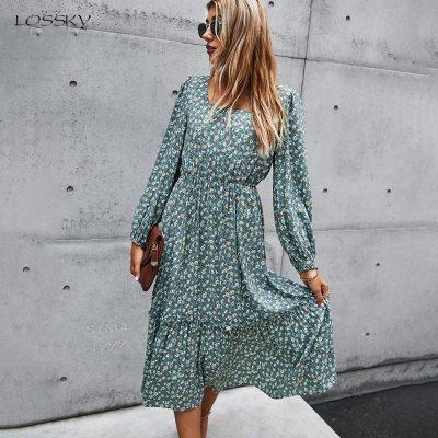Long Dress Autumn Spring Clothes Elegant Ladies Print Long Sleeve Ruched Black Dresses