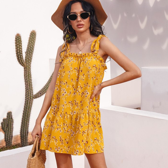 Yellow Floral Print Spaghetti Strap Short Dress Women 2021 Sleeveless Lace Up Ladies Casual Loose Elegant Holiday Dresses