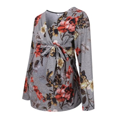Cross-Border New Winter Maternity V-neck Printed Lace-up Long Sleeve Clothing Maternity Top