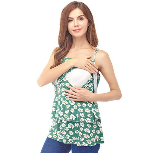 Breastfeeding Top Women's Maternity Sleeveless Tops Floral Print Nursing Baby Vest  Maternity Tank Top