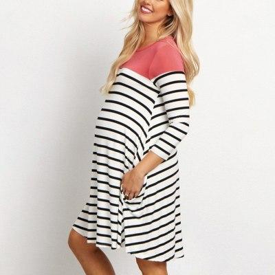 Dresses Maternity Sleeve Striped Print Breastfeeding dress