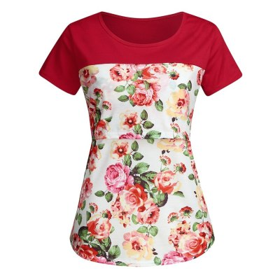 2021 Fashion Women Maternity Tops Summer Casual Print Short Sleeve Floral Print Nursing T-Shirt Mothers For Breastfeeding Tops