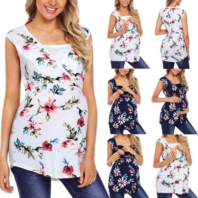 Maternity ClothesWomen's Maternity Sleeveless Floral Print Tops Nursing Baby Blouse Clothes