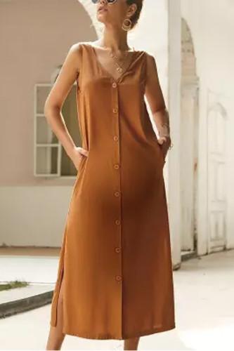 Maternity Casual V Neck Pure Color Single-Breasted Vest Slit Dress