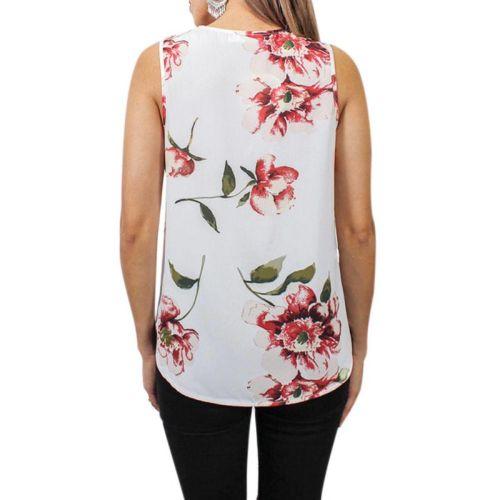 Sexy Deep V-Neck Sleeveless Blouse Fashion Floral Printing Summer Tops Women Zipper Top