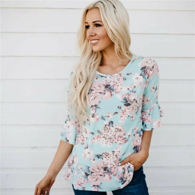 Fashion Women Boho Floral Baggy Top Ruffled Half Sleeves Shirts Pregnant Maternity Blouse Clothes Plus Size