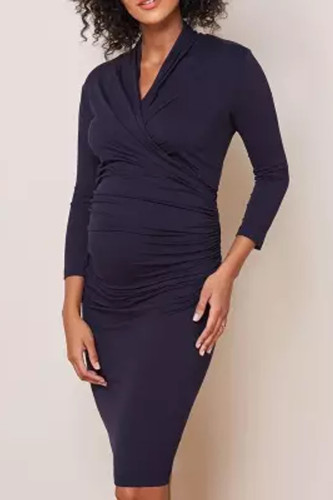 Maternity Casual Pure Colour Bracelet Sleeve Dress