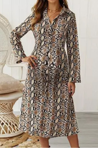 Maternity Casual Printed Fold Over Collar Long Sleeve Dress