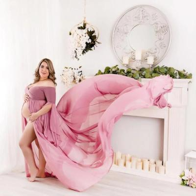 Photography Props Pregnancy Dress Chiffon For Photo Shooting Off Shoulder For Women Maxi Gown
