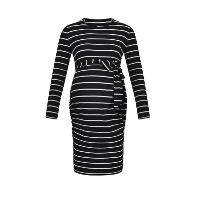 Maternity Tie-in Waist Dresses Striped Side Ruched Pregnant Casual Dress
