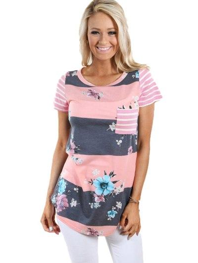 Women Floral Print Stripe O-neck Short Sleeve Roupas Femininas Irregular Hem T-Shirt Summer Casual Top