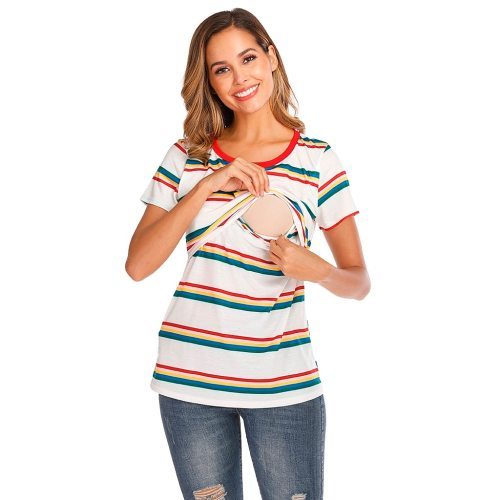 Women Maternity Short Sleeve Striped Nursing Tops T-shirt For Breastfeeding Breastfeeding Tops Loose Maternity Clothing