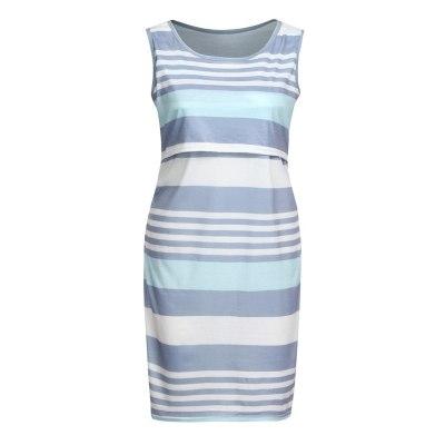 Breastfeeding Sleeveless Comfy Stripe Print O-neck Summer Maternity Dress