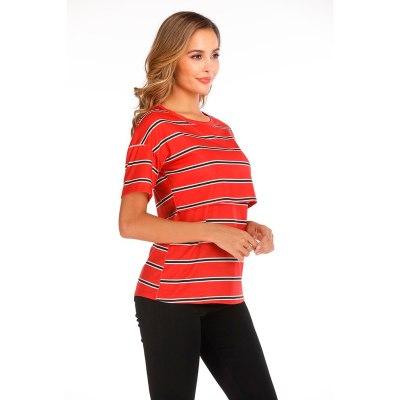 Women Maternity Short Sleeve Striped Nursing Tops T-shirt For Breastfeeding Breastfeeding Tops Loose Maternity Clothing