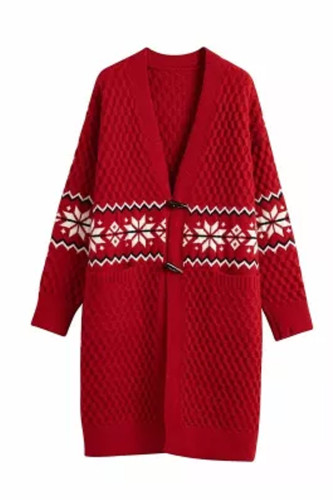 Women Winter Cardigans Long Sleeve Open Stitch Snowflake Knit Sweater