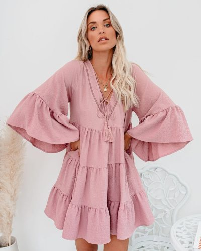 2021 Fashion Female Pleated Party Robe    Femme Ladies Casual Ruffle Dress