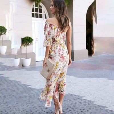 Fashion Women Summer Skew Collar Ruffles Floral Printed Slim Sleeveless Chiffon Long Dress