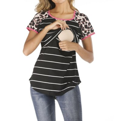 Summer Women Top Maternity Clothes Breastfeeding Shirt For Pregnant Women Leopard Striped Patchwork Nursing Top