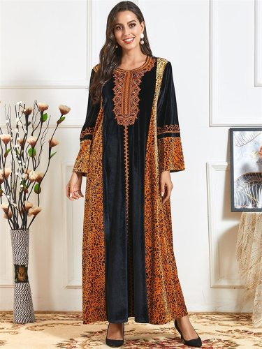 Vintage Ethnic Embroidery Maxi Dress for Women Winter 2021 Velvet Leopard Muslim Clothes