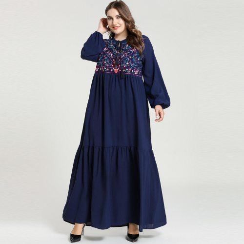 Embroidery Muslim Dress Women Dubai Abaya Turkey Islamic Clothing Moroccan Kaftan Long Caftan Turkish Dresses