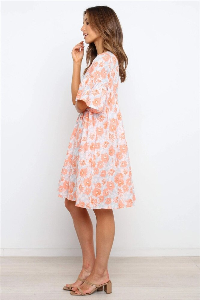 Summer Floral Printed Boho Dress Women RRetro Clothes Women Vintage Casual Loose Maternity Dress
