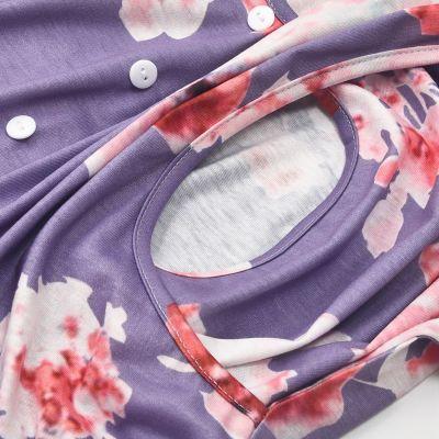 2021 New multifunctional printing three-quarter sleeve nursing dress
