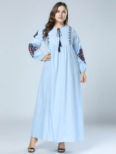 2021 Spring Autumn Women Long Dress Embroidery Floral Ankle-Length Dress Tassel Design Clothing