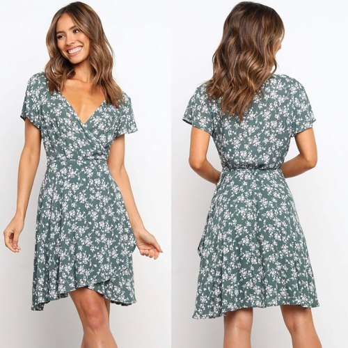 Summer Dress Women 2021 New Mid-Waist V-Neck Low-Cut Short-sleeved Printing Casual Dress
