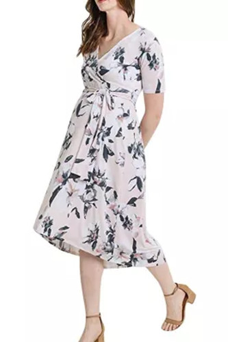 Women's Faux Wrap Maternity Dress with Adjustable Belt V Neck Breastfeeding Dresses