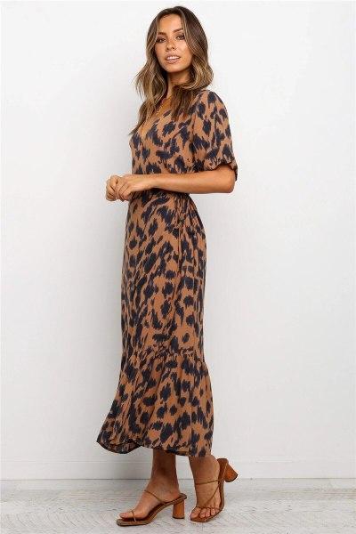 Women Summer Beach Boho Maxi Dress Ladies Vintage Leopard Puff Sleeve Ruffles Dress