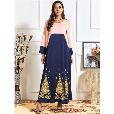 Middle East Plus Size Embroidery Long Dress Abaya Plus Size Ethnic Turkish Patchwork Color Block Robe Gown Casual Fashion Dress