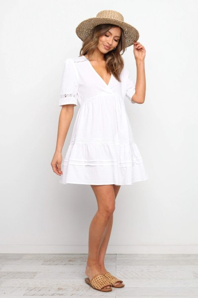 2021 spring summer women white sexy hollow out short sleeve solid elegant mini dress casual cute Dress