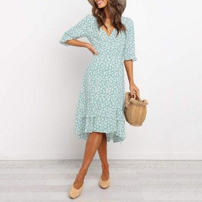 Woman Dress Floral Print Ruffled Irregular Stitching Short-Sleeved Tight Skirt Green Tassel Dress