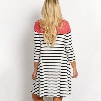 Nursing Dress Women Maternity Fashion Sleeve Striped Dress For Breastfeeding