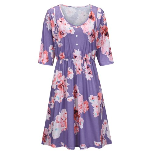 2021 New multifunctional printing three-quarter sleeve nursing dress