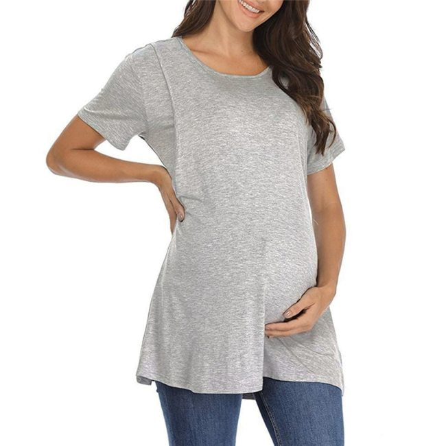 Summer Short Sleeve Maternity T-Shirts Women Striped Nursing T-Shirt For Pregnant Women O Neck Casual Tops Groseesee Plus Size