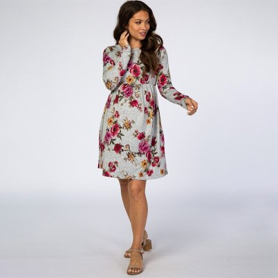 2021 Sexy Pregnant Women O-neck Breastfeeding Loose Printed Dress Large Size Casual Maternal  Feeding Clothes