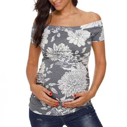 2021 Maternity Clothes Ladies Pregnant Women Breastfeeding Floral Short Sleeve Blouse Tops Shirt For Pregnant Women Nursing Top