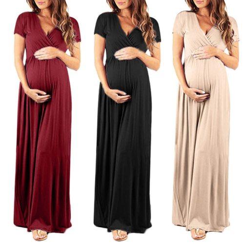 Solid Color Pregnant Dress Maternity Dresses Pregnant Long Dress Women Pregnancy Clothing Short Sleeve Pregnancy Dress
