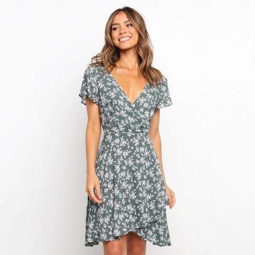 Summer Dress Women 2021 New Mid-Waist V-Neck Low-Cut Short-sleeved Printing Casual Dress