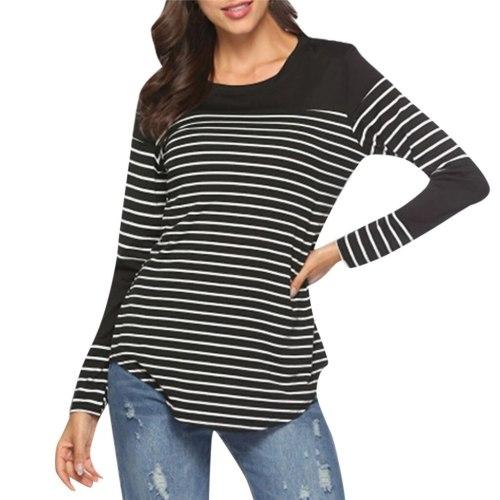 Women Blouse Maternity Long Sleeve Striped Nursing Tops T-shirt For Breastfeeding Mom Ladies Casual Winter Blouse Shirt