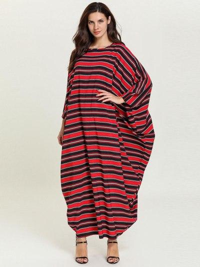 Fashion Simple Autumn Knit Striped Stitching Bat Long Sleeve Musulman Robe Arabian Loose Dress