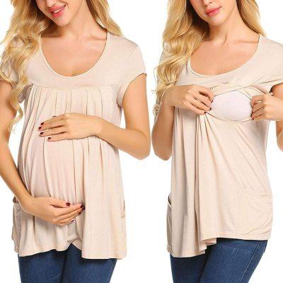 Maternity Clothes Women Short Sleeve Comfy Layered Nursing Top Shirt For Breastfeeding Maternity Shirt Top