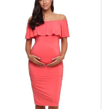 Polka Dot Ruffles Maternity Dresses Off Shoulder Pregnancy Dresses Ruffle Shoulderless Women Maternity Dress