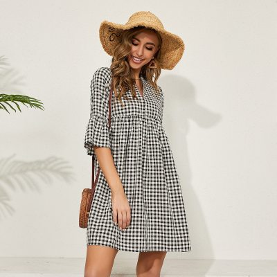 Black Casual Loose Plaid Dress for Women O Neck Half Sleeve Mini Spring Holiday Cotton Dress