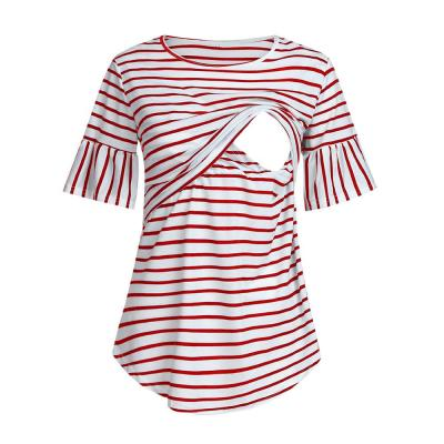 2021 New striped short-sleeved breastfeeding top T-shirt for pregnant women Tops