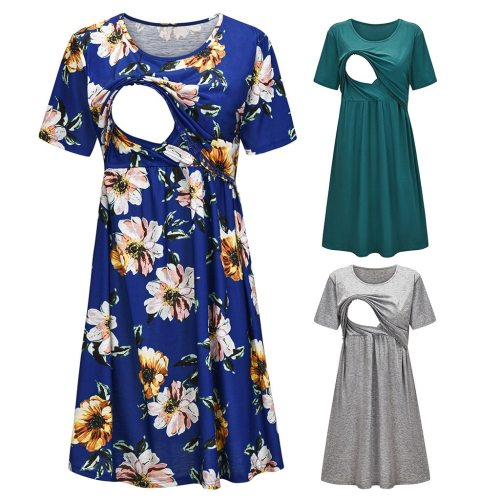 Maternity Dresses Women Short Sleeve Floral Print Nursing Dress For Breastfeeding Pregnancy Dress